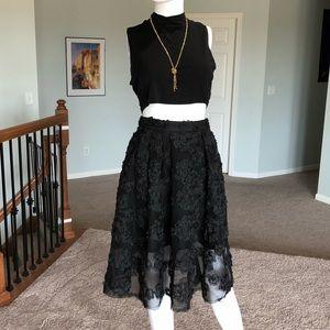 H&M flower appliqué black netting skirt sz2